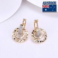 Elegant 18K Yellow Gold Filled CZ Crystal Circle Huggie Dangly Hoop Earrings