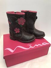 NEW NINA KIDS TALLULAH BROWN CRINKLED  Youth Girls Boots 9M