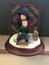 "Sweet Willets Figurine from the Amish Heritage Collection. ""Sledding Together�"