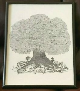 VINTAGE FAMILY / HISTORY TREE OF AMERICAN ROCK MUSIC 1984 1ST VERSION FRAMED