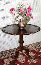 Antique Mahogany Beautiful Leather Top Gold Inlay Carved Occasional Table C1920