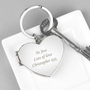 Personalised Engraved Heart Photo Keyring - Anniversaries, Newlyweds, Valentines