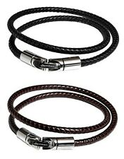 Phiten RAKUWA Bracelet X100 Leather-Textured Model Black Brown Sets 40cm F/S JP