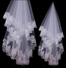 NUOVO sposa matrimonio velo da sposa pizzo fiori bordo 1,50M BIANCO velo