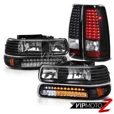 CHEVY 99-02 Silverado Headlight LED Bumper Corner lamp Black BackUp Tail Light