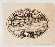 Northwoods Wood Mounted Rubber Christmas Winter Farm Wagon Oval Barn