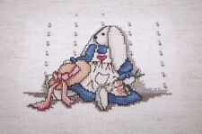 """Adorable COMPLETED Bunny and Bonnet Counted Cross Stitch 5"""" x 6"""" Mounted"""