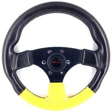 Genuine Raid Dino 320mm yellow black leather steering wheel. Classic 1993.   8D