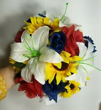 Red Navy Rose Lily Sunflower Bridal Wedding Bouquet & Boutonniere