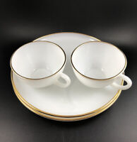 Fire King Modern Hostess Delight Anchorglass Hocking 22k Gold Trim Snack Set