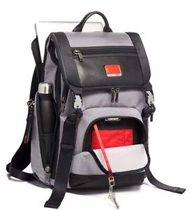 "Tumi Alpha Lark Laptop Bag 15"" Computer Bag Grey/Bright Red"