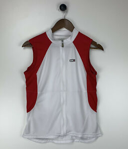 sleeveless cycling Vest full zip mens size large White Red Pockets