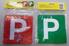 "1 Pair Red & Green ""P"" Plates Plastic With Stay-Put Suction Disks For VIC WA"