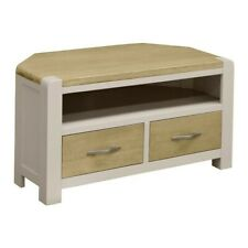 CAPRI PAINTED OAK Grey Painted Media Stand - Television Table / Corner TV Unit