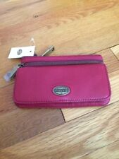 New Fossil Cranberry Red Wallet Clutch Genuine Leather Purse Handbag ~ NWT