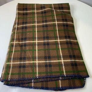 plaid fleece blanket lap throw brown green 62x48 traditional classic