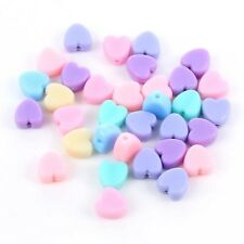50X Mixed Color Acrylic Heart Shape Spacer Beads DIY Jewelry Accessory Making