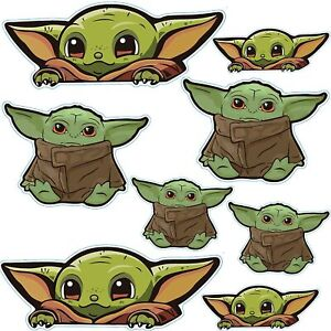 2 Sheets Baby Yoda Window Cling Decal - 8 Pcs Cute Peeking Baby Yoda Vinyl Stick