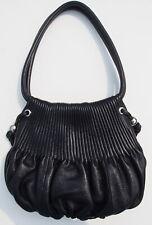 Bodhi Textured Pleated Hobo Handbag w/ Drawstring corner BLACK Purse High End