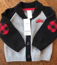 Gymboree Boys Button Up Sweater Gray/black Size 12-18 Months