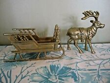 Brass Sleigh and Reindeer Figurine Fireplace Mantel Cottage
