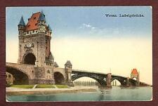 Litho-AK Worms Ludwigsbrücke gel. 1928 nach Frankfurt