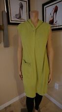 Attractive long Bryn Walker Green with one button cardigan sz L sleeveless