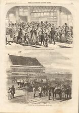 1861 ANTIQUE PRINT- DERBY DAY, PRELIMINARY CANTER, ANNOUNCING THE WINNER
