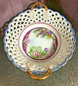 Decorative Floral Reticulated / Woven Gold Handled Porcelain Bowl, Guilded Gold