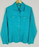 Chico's Women's Medium Textured Turquoise Long Sleeve Unlined Jacket