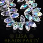 New 10pcs 16x8mm Teardrop Faceted Glass Pendant Loose Spacer Beads Half AB