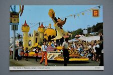 R&L Postcard: The Battle of Flowers Jersey, Mickey Mouse, Parade Float
