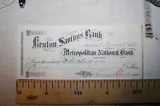 CHEQUE DE NEW YORK, KENTON SAVINGS BANK,  1884  VER FOTOS