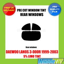 DAEWOO LANOS 3-DOOR 1999-2003 5% LIMO REAR PRE CUT WINDOW TINT
