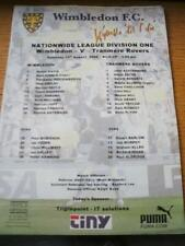 12/08/2000 Colour Teamsheet: Wimbledon v Tranmere Rovers (Folded, Writing On Fro