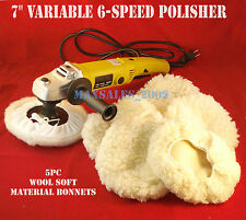 """7"""" Variable 6 Speed Electric Car Polisher Buffer W/ 5pc Soft Bonnets"""