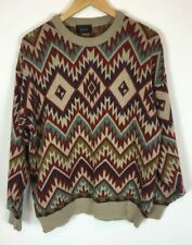 Men's 90's Vintage Next Knit Wear Long Sleeve Jumper Geometric Pattern UK M