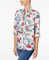 Charter Club Women's Linen Floral Printed Button Down Shirt NWD Size L
