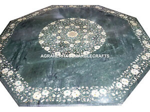 Marble Granite Coffee Table Mother of Pearl Mosaic Inlay Marquetry Decor H3052