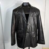 COLE HAAN Soft Classic Lambskin LEATHER Blazer JACKET Men Size L Black