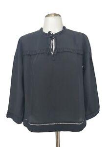 New J.Crew Point Sur 100% Silk Popover Blouse Size SP Petite Black Ruffle