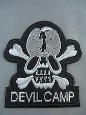 Devil Camp skull and cross bones  emroidered  iron on /sew on badge