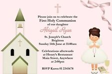10 Personalised Communion Invitations Brown Blonde Red Hair Girl or Boy
