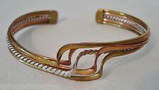 Modernist Wave Brass Copper Sterling Cuff Bracelet ATI Mexico Twisted Silver