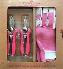 Ladies Leather Garden Gloves (M) & Mini Secateurs Set - Best Ladies Garden Gift
