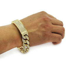 Men's Hip Hop Bracelet Gold PT Fully Cz Iced Out Finish Miami Cuban Style Link