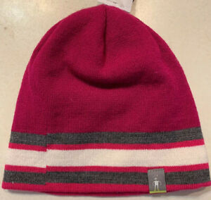 """Smartwool """"Kids Reversible Slopestyle Stripe Hat"""" Youth Small Berry Pink $28"""