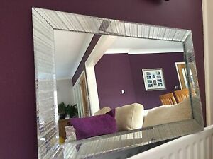 Star Silver Glitter mirror Frame Glass living room lounge bedroom wall 40x60cm