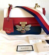 NEW Gucci Queen Margaret Bee Handbag Red White Blue Color Block Web Stripe Bag
