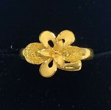 24K .9999 Fine Solid Yellow Gold Flower Ring 5 Grams Adjustable Size